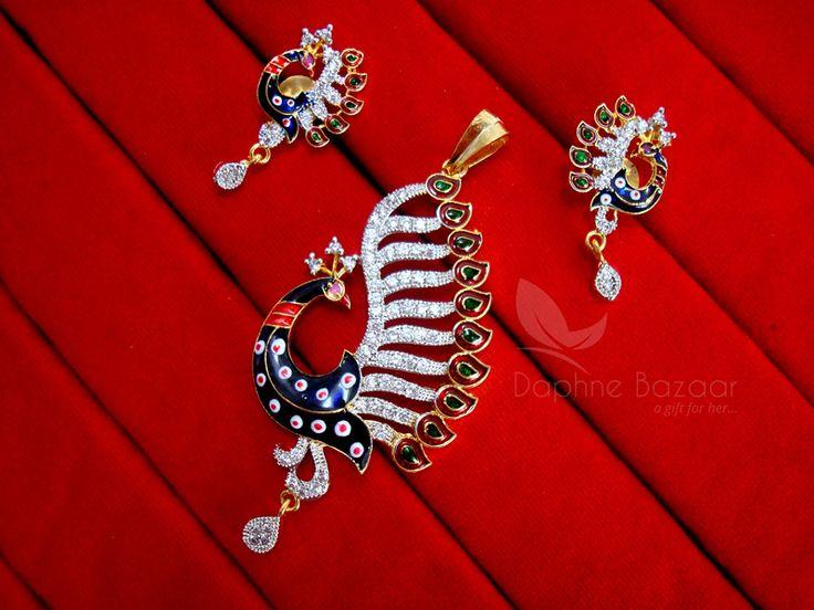 Daphne Chunky Studded Peacock Zircon Meenakari Pendant and Earrings