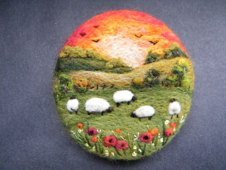 Handmade needle felted brooch/Gift ' The Summer Sunset' by Tracey Dunn | eBay