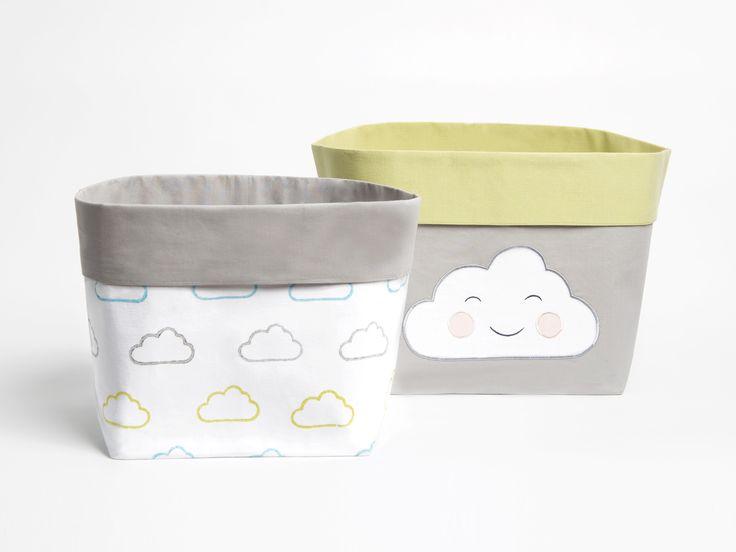 Happy Cloud Blue - Fabric Storage Baskets, Nursery Storage Baskets, Storage Baskets, Canvas Storage Baskets, Baby Baskets, Nursery Baskets