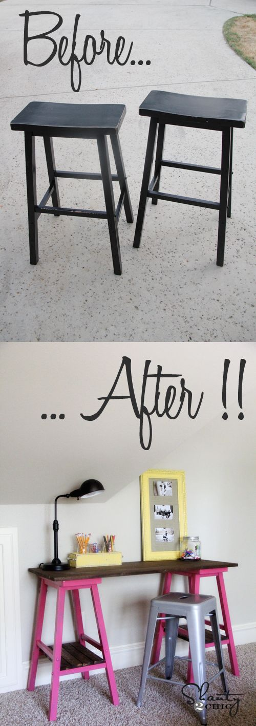 DIY desk made from barstools!! ~ I seriously have 4 of these barstools, exactly like these and no longer have a bar in my house. When I convert the garage over to a room, it might be just what we need to do with them. 2 desks for kids crafts, homework or a laptop. ~ Delta