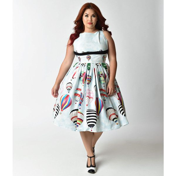 Unique Vintage Plus Size Light Blue Hot Air Balloon Festival Dolly... ($118) ❤ liked on Polyvore featuring plus size women's fashion, plus size clothing, plus size dresses, blue, plus size blue dress, white swing dress, white cocktail dress, vintage dresses and blue cocktail dresses