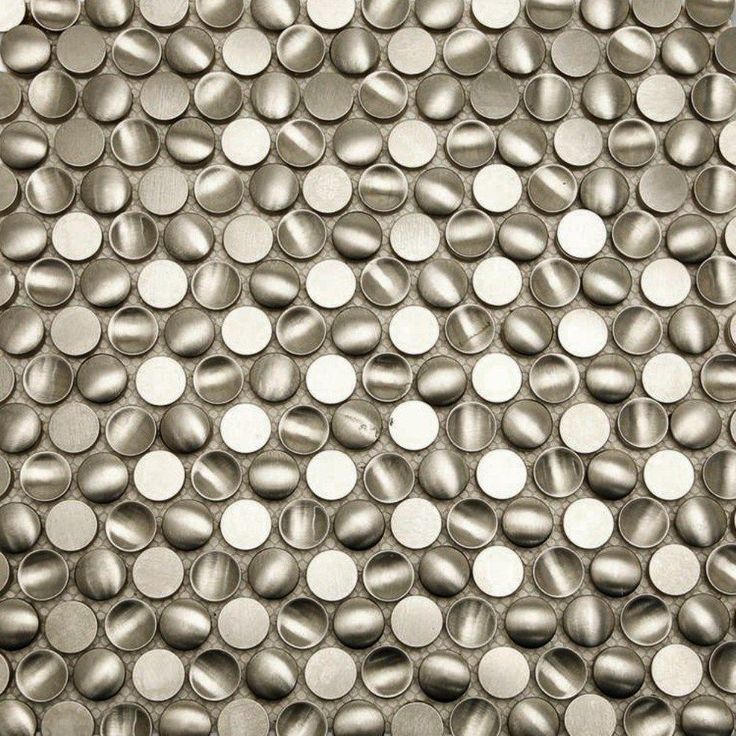 Splashback Tile Corrie Circles Stainless 11 1/2 In. X 11 1/2 In. X 8 Mm  Polished Metal Mosaic Tile, Silver/Polished