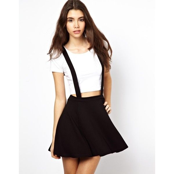 ASOS Ponte Skater Skirt with Braces ($28) ❤ liked on Polyvore featuring skirts, outfits, models, bottoms, black, black skater skirt, pleated skirt, skater skirt, flared skirt and high waisted skirts