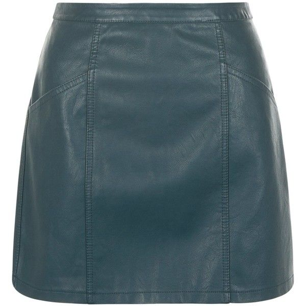 New Look Petite Dark Green Leather-Look Skirt (£18) ❤ liked on Polyvore featuring skirts, dark green, faux leather skirt, blue skirt, vegan leather skirt, imitation leather skirt and petite skirts