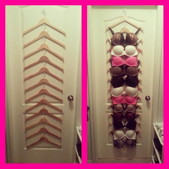 DIY Hanging Bra Organizer : wooden hangers + tea cup hooks... genius space saver!