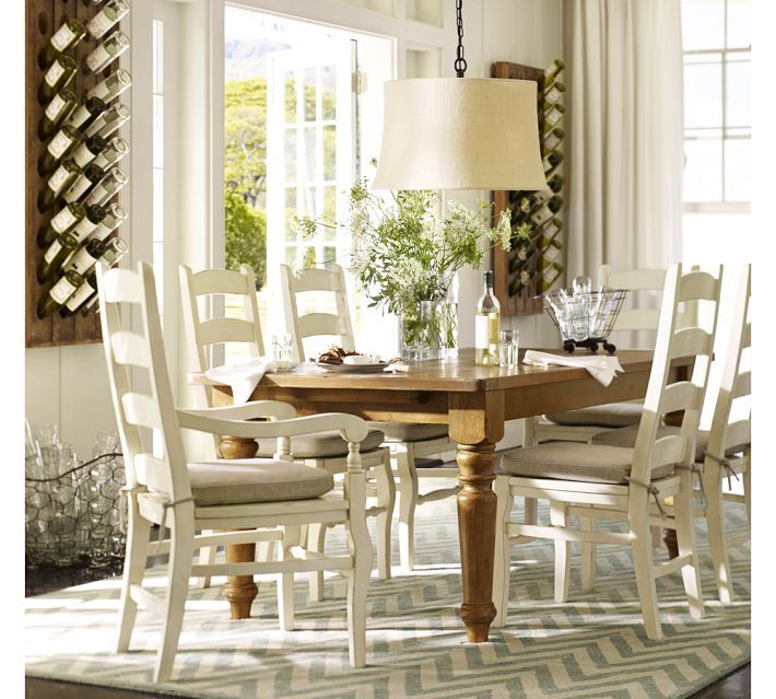 Love How Everything Ties Together Without Looking Matchy The Drum Shade Pendant White Chairs Chevron Rug And Table