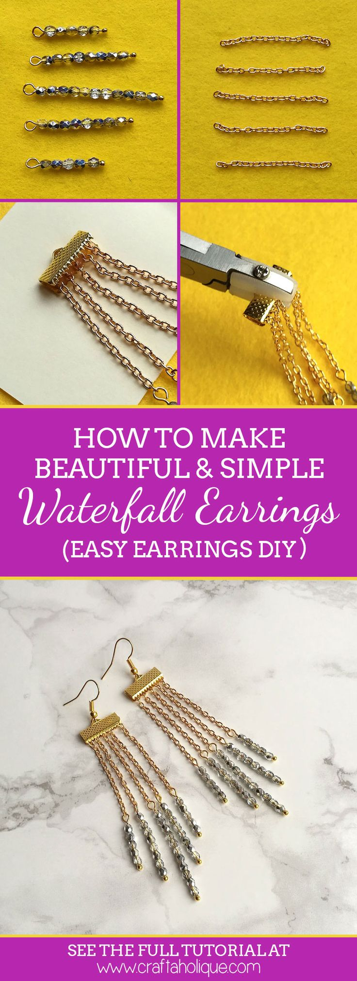 Beautiful waterfall earrings to dress up any outfit! Find out how to make them in this easy earrings tutorial from Craftaholique.