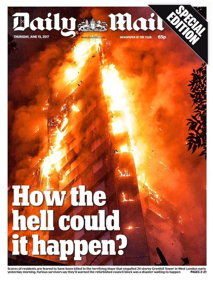 Thursday's front pages all carry dramatic images of Grenfell Tower, in west London, ablaze.