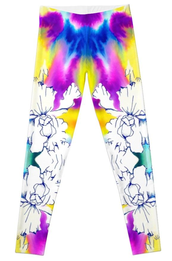April Showers Brought May Flowers Leggings by Polka Dot Studio, new, bright, fun, #spring hand painted watercolor garden floral of Iris on #fashion #apparel for #her. Look trendy, be comfortable, whether at yoga, traveling or out at an event. Coordinating products available; drawstring #bags, #pouches, #T-shirts or #phone cases.