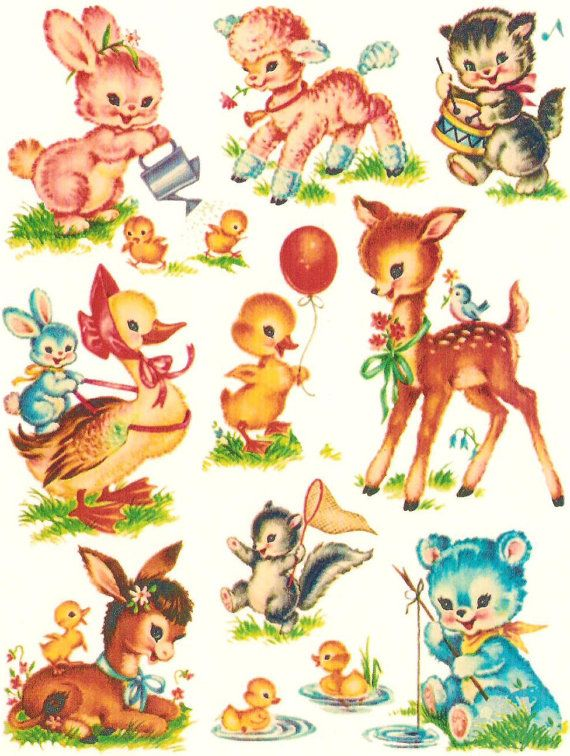 Baby Animals Nursery Decals Accessory Size Vintage By