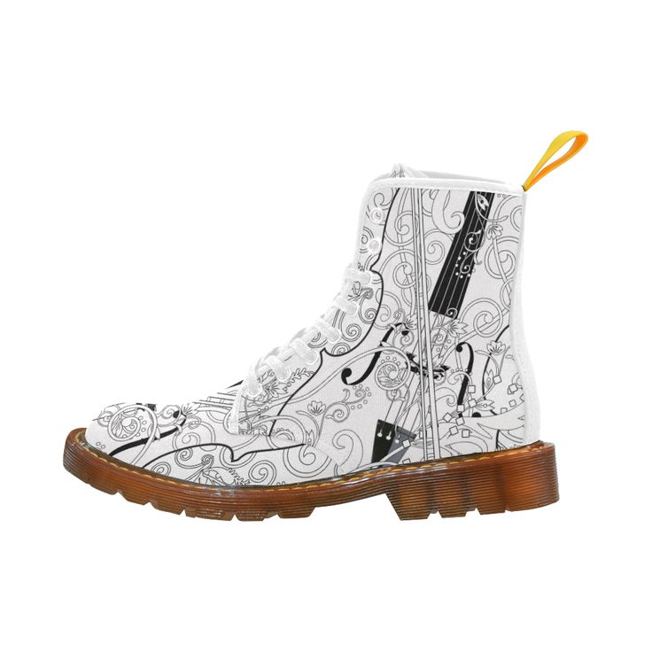 Printed Martin Boots Violin Art Martin Boots For Women Model 1203H.I Love Violin Art Print Boots by Juleez.  Color your own boots