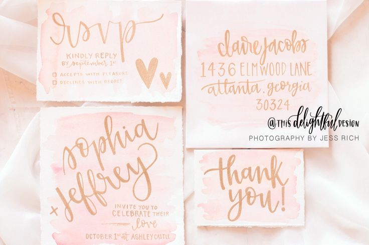 Calligraphy | Wedding Suite | Custom Invitation | Wedding Stationary | Blush & Gold | Pink | Thank You Cards | Invite RSVP Envelope | Custom Wedding Gift | Wedding Decor | Home Decor | Signage | Sign | Inspiration || Watercolor | Quote | Inspirational || This Delightful Design by Katie Clark