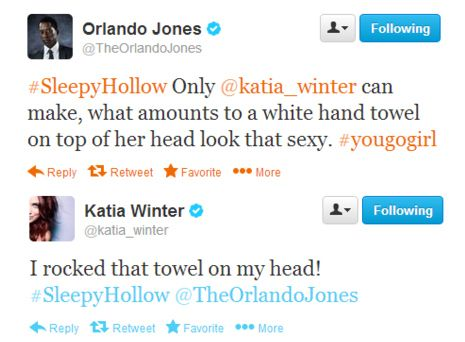 "That time Orlando Jones and Katia Winter tweeted about wardrobe choices. | Community Post: 20 Times The Cast Of ""Sleepy Hollow"" Proved They Are Utterly Adorable"