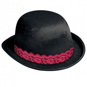 Black Bowler Hat With Lace