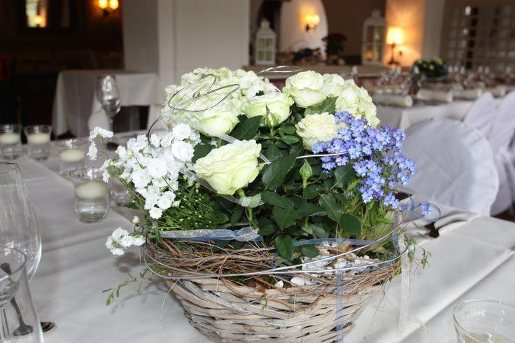 Bepflanzte k rbe als tischdekoration rosen hortensien for Tischdekoration hochzeit bilder