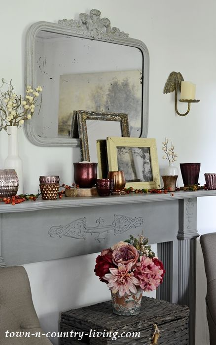 Pottery Barn Inspired Fall Mantel in Burgundy and Gray mantle and