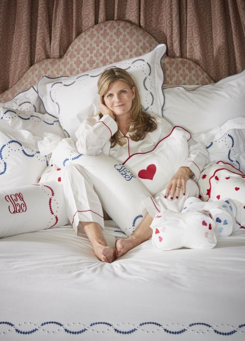 Susannah Constantine  In bed with charmajesty linens  charmajesty.com