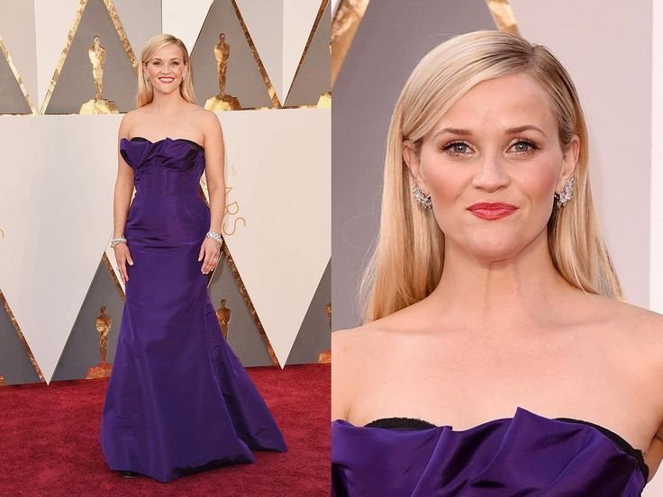 Tutto bellissimo e perfetto nel look di Reese Witherspoon, magnifici di capelli, ottimi accessori, splendido l'abito di Oscar de la Renta, ma... permettetemi di aprire l'angolo della polemica: quando sai che sfilerai sul RED CARPET evita di indossare un abito viola perchè l'accostamento rosso-viola è da perforazione del bulbo oculare!!!!