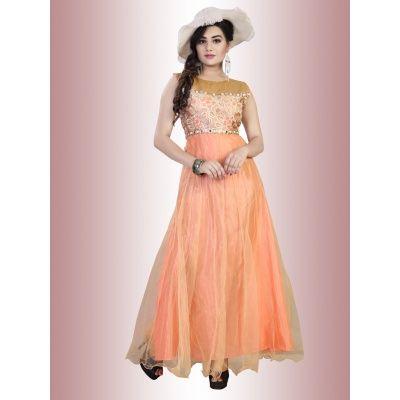 Awful Orange Net Semi Stitched Gown