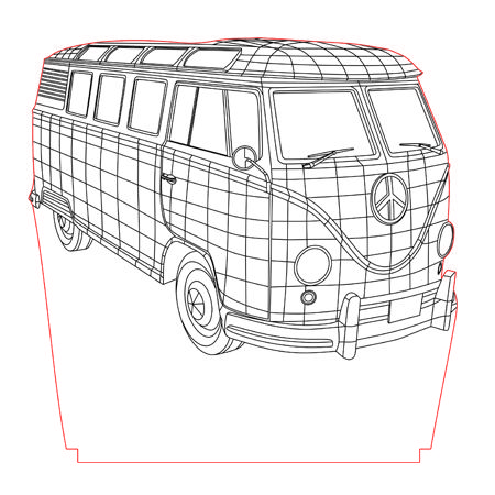Old van 3d illusion vector file for CNC - 3bee-studio
