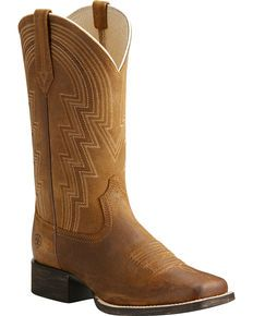 Ariat Womens Tan Round Up Walyon Old West Boots - Square Toe , Lt Brown