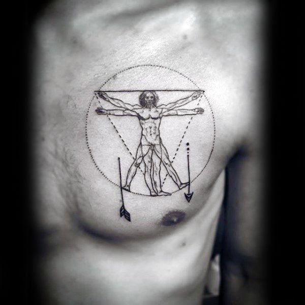 Circle Minimalist Male Chest Tattoos