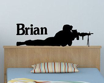 Military soldier wall decal sniper sticker boys by aluckyhorseshoe