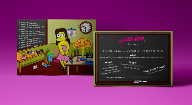Sofia's Birthday Party invite #birthday #invite #invitation #batmitzvah #simpsons #houseofdbdesign #houseofdb #pink #science #party #personalised #unique #personalized #bespoke #13years #graphicdesign #illustration