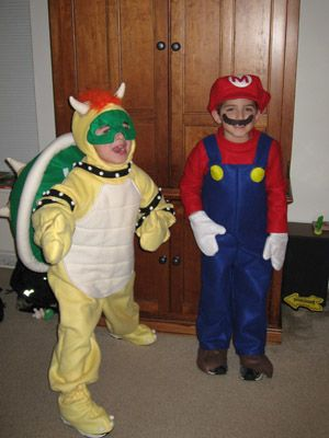 bowser costume with simple green mask (needs red fluffy eyebrows)...wish I could find one!!!!