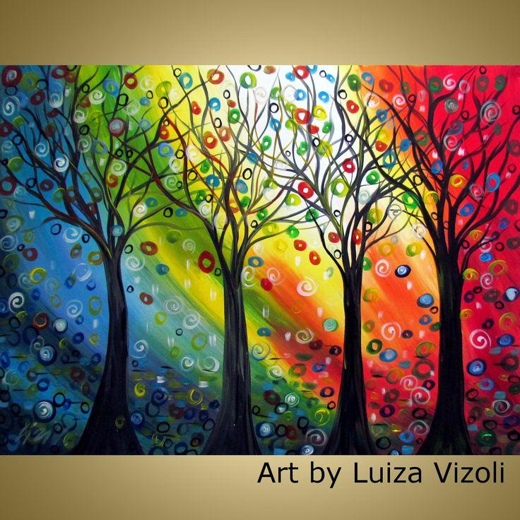 FOUR SEASONS original abstract modern whimsical colorful trees very large XXL 48x36 painting single canvas by Luiza Vizoli. $900.00, via Etsy.