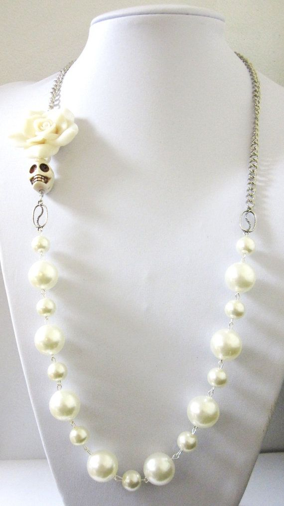 Day Of The Dead Necklace Sugar Skull Wedding by sweetie2sweetie, $29.99