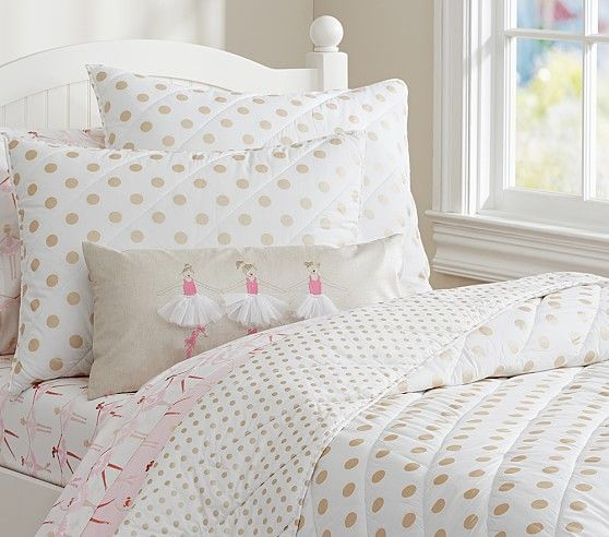 Gold Polka Dot Quilted Bedding Pottery Barn Kids Full