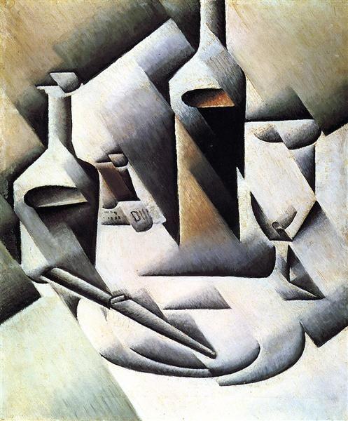 Botellas y cuchillo, 1911-1912 - Juan Gris. Cubismo Analítico