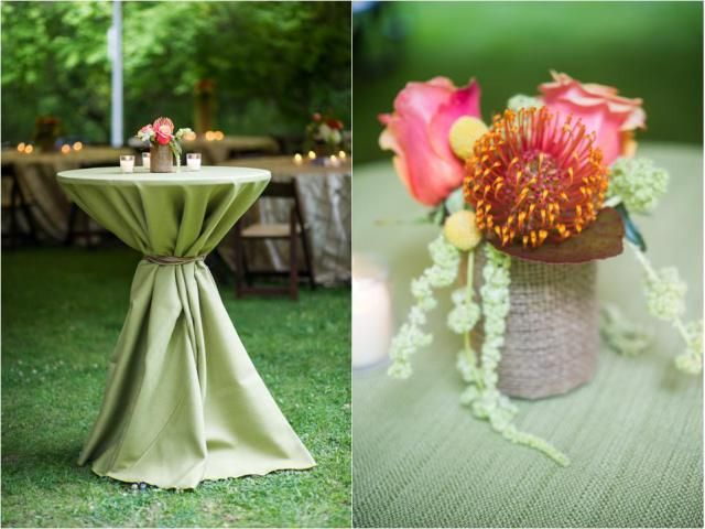 Hi Boy Tables Were Decorated With A Green Yuma (synthetic Burlap) Linen Tied