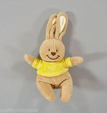 Doudou lapin beige et tee-shirt jaune Bengy 22 cm
