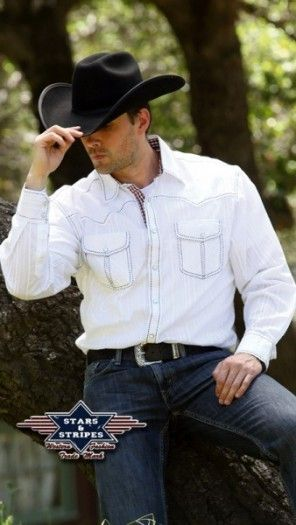 Corbeto's Boots | 50-SIMON | Camisa western blanca Stars & Stripes para hombre | Stars & Stripes mens white cowboy shirt.