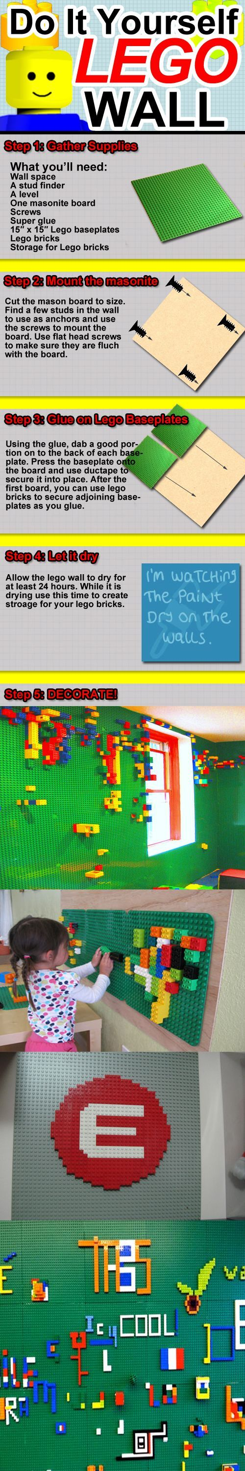 can't do this to our walls because we rent, but i think i may try it on a bulletin board or two and hang those. owen would love it!!: Idea, Play Rooms, Diy Lego, Kids Room, Playroom, Lego Wall, Lego Room, Boy, Legowall