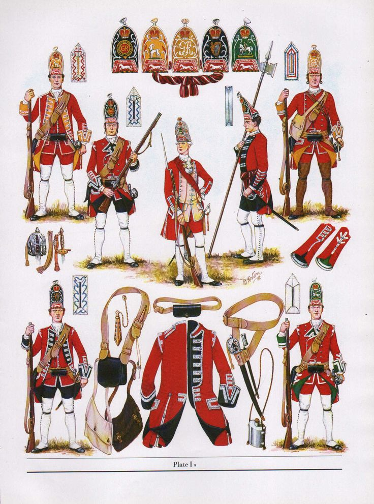 Brintish; Line Infantry, Grenadier Cos 1751. Top row Lto R Corporal 6th Foot, Grenadier 4th Foot, Officer 3rd Foot, Sergeant 4th Foot & Grenadier 9th Foot. Bottom Row; Grenadier 18th Foot & Grenadier 5th Foot. Fron The Thin Red Line by DSV & BK Fosten