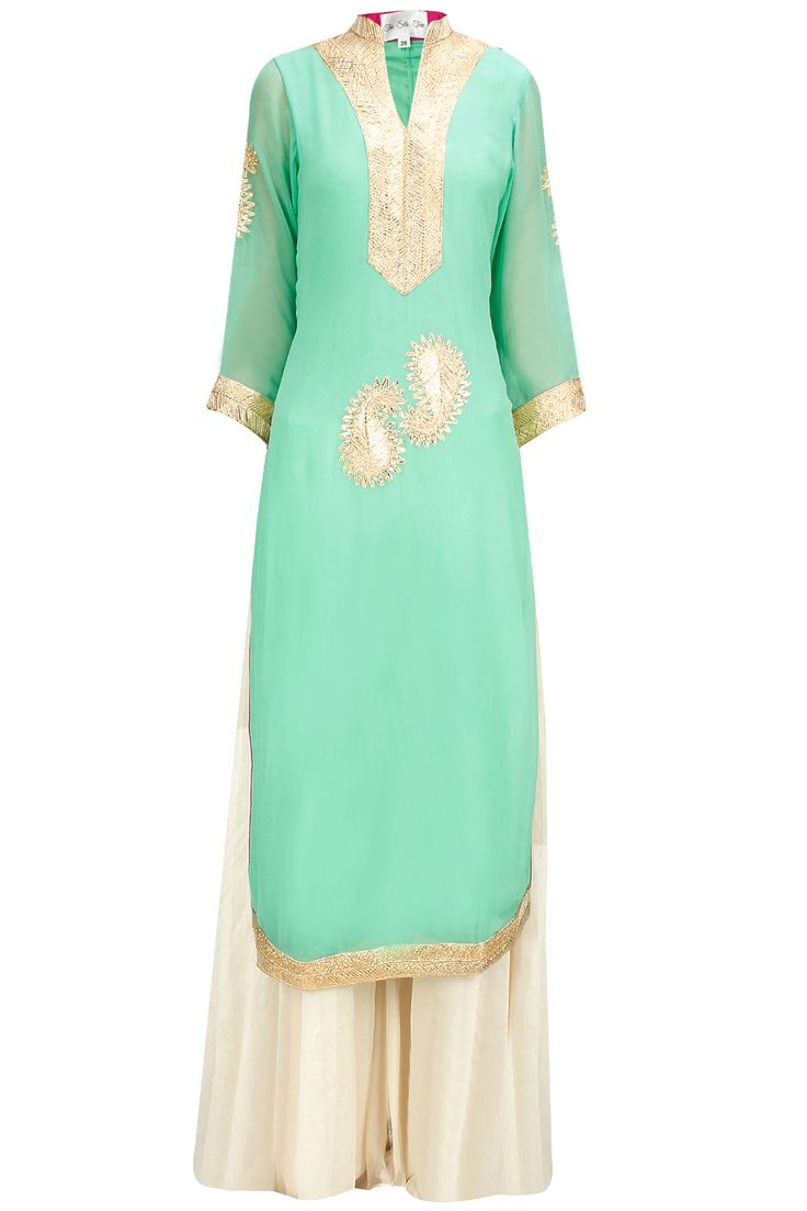 Mint green paisley embroidered kurta with textured georgette sharara available only at Pernia's Pop-Up Shop.