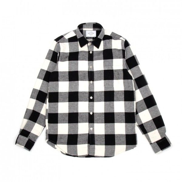 Portuguese Flannel Bufalo Shirt (Black & White) (5,030 INR) ❤ liked on Polyvore featuring men's fashion, men's clothing, men's shirts, men's casual shirts, mens black white striped shirt, mens checked shirts, mens checkered shirts, mens black and white checked shirt and mens tailored shirts