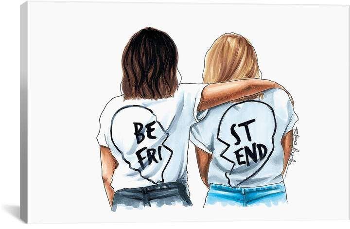 Icanvas Best Friends By Elza Fouche Hautelook Bff Drawings Best Friend Canvas Friendship Print