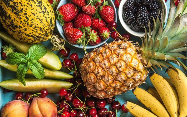 Download wallpapers fruits, healthy food, pineapple, blackberries, strawberries, cherries, bananas, peaches