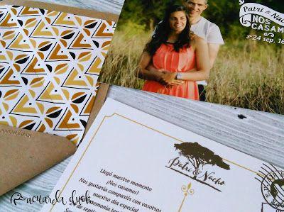 Invitaciones de boda Safari. Invitación con foto y estampado étnico.