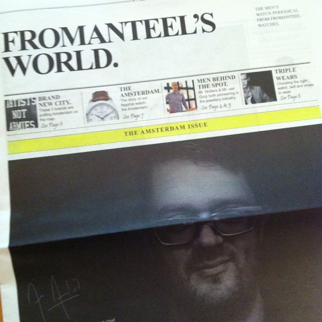 To give an idea on what kind of brand Fromanteel is beyond watches, we made a newspaper called Fromanteel's World. It contains interviews, articles about just anything and Amsterdam 'hot spots'.   The newspaper will be sent with every order on www.fromanteel-watches.com