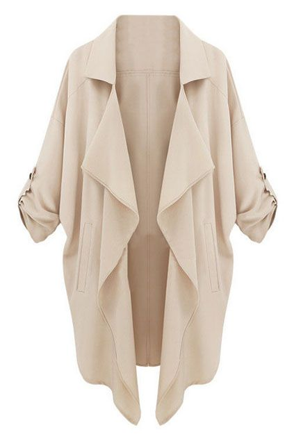 ROMWE   Lapel Buttonless Sheer Camel Trench Coat, The Latest Street Fashion