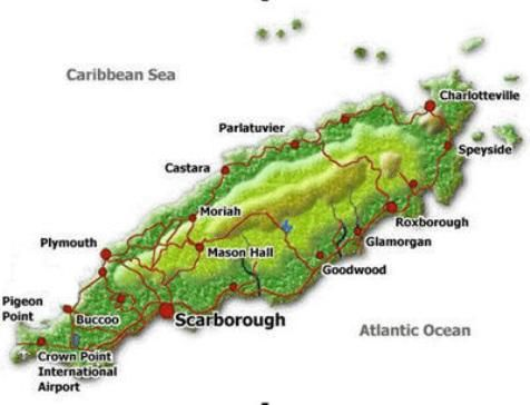 Tobago Map showing its amazing beaches