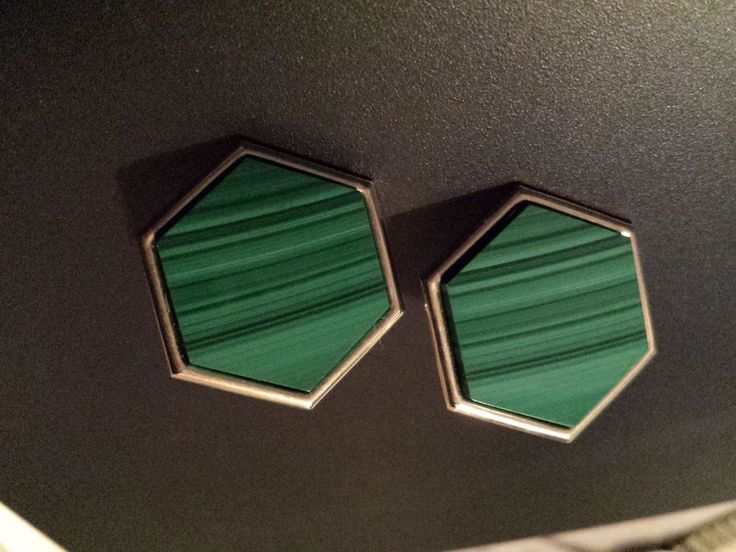 Vintge Peter Brams Design 14K Gold Hexagon Malachite Stud earrings