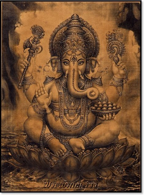 Ganesha- representing the Remover of Obstacles and the Lord of Beginnings, I am also thinking of getting a date incorporated in this piece for a loved one I have lost <3