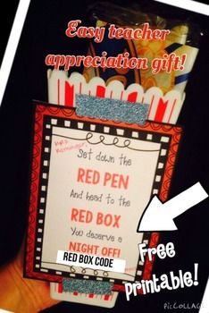 Free Red Box Teacher Appreciation Gift Tag Printable. Simply print onto card stock and attach to a bag of popcorn. I attached mine to a plastic popcorn container using sparkly washi tape and then added a bag of un popped popcorn and a chocolate bar to the container.