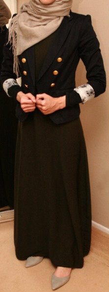 #Hijab Outfit. Not a fan of black paired with brown, but I love the way the jacket fits with everything.